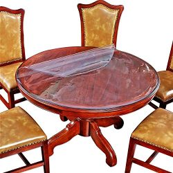 Clear Round Table Tabletop Protector Cover Plastic Tablecloth Wood Furniture Dining Coffee Side  ...