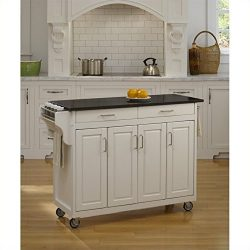 Home Styles 9200-1024 Create-a-Cart 9200 Series Cabinet Kitchen Cart with Black Granite Top, Whi ...