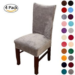 Colorxy Spandex Fabric Stretch Dining Room Chair Slipcovers Home Decor Set of 4, Light Gray