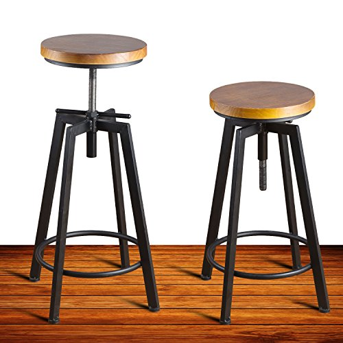 Swivel Counter Stool Bar Stool High Chair Black Kitchen: Round Wood Seat Bar/Counter Height Adjustable Swivel Metal