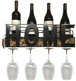 Home Wine Rack Wall Mounted Hanging Wine Cork Holder Holds 4 Bottles and 4 Wine Glasses –  ...