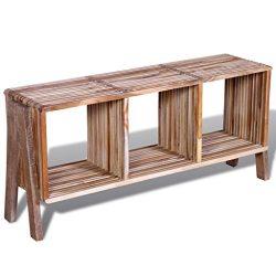vidaXL Reclaimed Teak TV Cabinet Stand Side Table Sideboard Low Board 3 Shelves