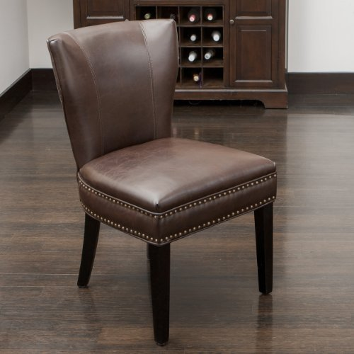 George Dining Chair | Brown Bonded Leather | Wing Back Design | Nail Head Stud Accents | Single  ...
