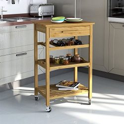 Rolling Bamboo Kitchen Island Storage Bakers Cart Wine Rack W/ Drawer & Shelves