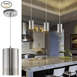 Donglaimei Adjustable Mini Pendant Light, Modern Hanging Lights with Perforated Cylindrical Meta ...