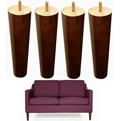 8 inch Wood Sofa Legs Walnut Finished Furniture Feet Replacement Legs Pack of 4 M8 Bolt For Coff ...
