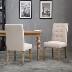 Merax Set of 2 Stylish Tufted Upholstered Fabric Dining Chairs with Nailhead Detail and Solid Wo ...