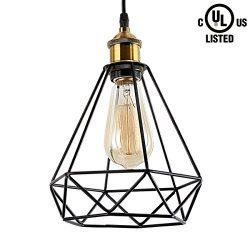 HOMIFORCE Vintage Style 1-light Black Cage hanging industrial light with Metal Shade in Retro-Bl ...