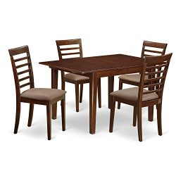 East West Furniture MILA5-MAH-C 5 Piece Breakfast Nook and 4 Dining Chairs In Mahogany Kitchen Set