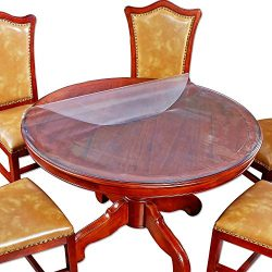 Round Furniture Frosted Color Plastic Tablecloth Protector Circle Dining Meeting Table Top Wipea ...
