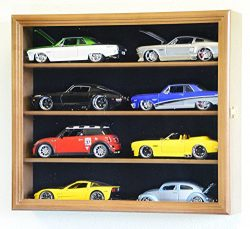 1/24 Scale Diecast Model 8 Cars Display Case Rack Holder Holds 8 Cars 1:24 (Walnut Finish)