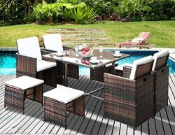 Leisure Zone Outdoor Rattan Wicker Patio Dining Table Set Garden Outdoor Patio Furniture Sets (9 ...