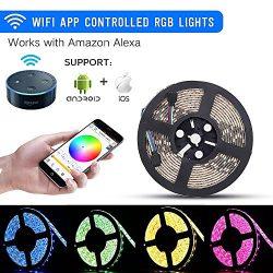 sanwo WiFi LED Lights Strip Kit, Wireless Remote Controller, 12V Power Adapter, 16.4ft 300LEDS 5 ...
