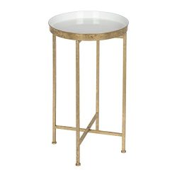 Kate and Laurel 212375 Celia Round Metal Foldable Tray Accent Table, White and Gold