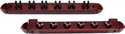 Standard 6 Pool Cue Stained Wood Wall Rack with Clips, Wine
