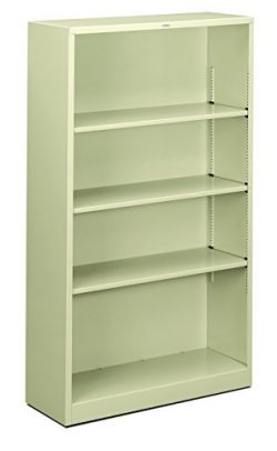 HON Brigade Metal Bookcase – Bookcase with Two Shelves, 34-1/2w x 12-5/8d x 59h, Putty (HS ...