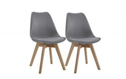 Set of 2 Wooden Modern Dinning Chairs, Faux Leather Kitchen Chairs (Grey)
