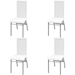 vidaXL 4 pcs High Back Dining Side Chairs Kitchen Seats Artificial Leather White