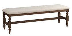 Homelegance Chartreaux 60″ Upholstered Dining Bench, Beige