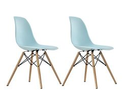 DHP Mid Century Modern Eames-Inspired Chair with Wood Legs, Set of Two, Lightweight, Light Blue