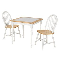 Target Marketing Systems 20339 3PC Tile Top Windsor Wooden Dining Set, White/Natural