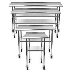 Gridmann NSF Stainless Steel Commercial Kitchen Prep & Work Table w/ Backsplash Plus 4 Caste ...