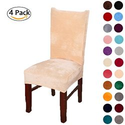 Colorxy Spandex Fabric Stretch Dining Room Chair Slipcovers Home Decor Set of 4, Beige