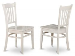East West Furniture GRC-WHI-W Dining Chair Set with Wood Seat, White Finish, Set of 2