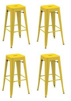 Backless Industrial Design Metal Iron Stools 30″ Set of 4 Duhome WY-665D Metal Bar stool ( ...