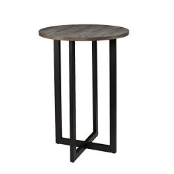 Holly & Martin Danby Bistro 42″ Bar Table, Burnt Oak Finish with Black Base
