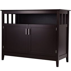 Costzon Kitchen Storage Sideboard Dining Buffet Server Cabinet Cupboard with Shelf (Espresso)