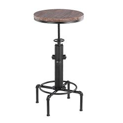 IKAYAA Pub Bar Table Swivel Counter Height Adjustable Kitchen Dining Table Pinewood Top Industri ...