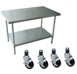 Apex Worktable Stainless Steel Food Prep 30″ x 18″ x 34″ Height With 4 Caster  ...