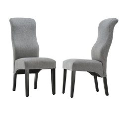 Andeworld Set of 2 Upholstered Dining Chairs High Back Padded Kitchen Chairs with Wood Legs Grey ...