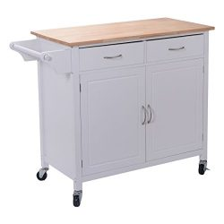 Giantex Portable Kitchen Rolling Island Cart Wood Table Top Island Serving Utility Kitchen Stora ...