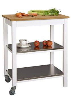 Corner Housewares Ultimate Ultra Sturdy Stainless Steel, Bamboo and Wood 3 Shelf Rectangle Rolli ...