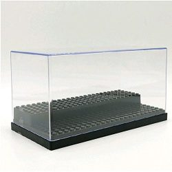 Acrylic Display Case/Box 2 Steps Perspex Dust proof Show LEGO Minifugures and Vinylmation (BLACK)