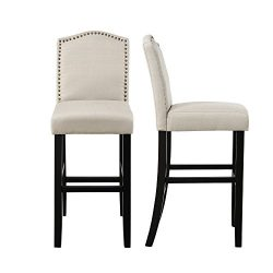 LSSBOUGHT Nailhead Barstools with Solid Wood Legs, Set of 2 (Beige)