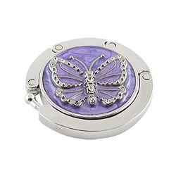 Hdecor Round Folding Butterfly Accent Hook Handbag Table Hanger (Purple)