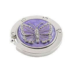 Hdecor Round Folding Butterfly Accent Hook Handbag Table Hanger (Purple)