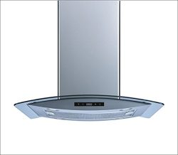 Winflo 36″ Island Stainless Steel/Arched Tempered Glass Ducted/Ductless Kitchen Range Hood ...