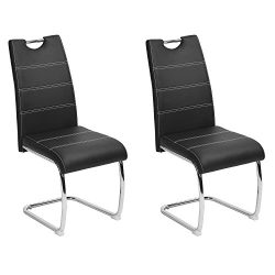 Dining Chairs set of 2 Aingoo Upholstered PU Leather Kitchen Chairs with Elegant Design High Bac ...