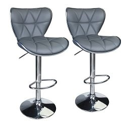 Leopard Shell Back Adjustable Swivel Bar Stools,Leather Padded with Back,Set of 2,Grey