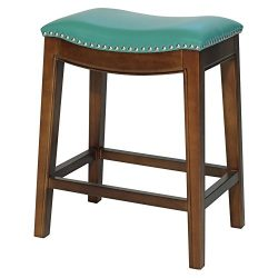 New Pacific Direct Elmo Bonded Leather Counter Stool,Cinnamon Brown Legs,Turquoise Green