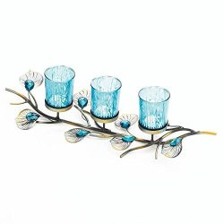 Table Centerpiece Candle Holder, Modern Peacock Inspired Table Candle Holder Set