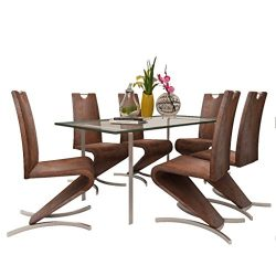 Daonanba Durable Dining Chairs Dining Room Furniture set Comfortable Artificial Leather Brown 6 Pcs