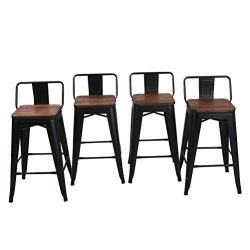 HAOBO Home 24″ Low Back Metal Counter Stool Height Bar Stools With Wooden Seat [Set Of 4]  ...