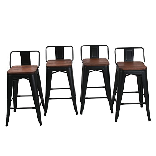 haobo home 24 low back metal counter stool height bar stools with wooden seat set of 4 for. Black Bedroom Furniture Sets. Home Design Ideas