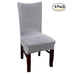 Velvet Dinning Room Chair Covers High Back Stetch Dining Chair Slipcovers, Gray Set of 4