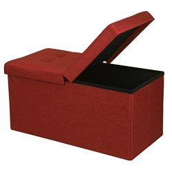 Otto & Ben 30″ Storage Ottoman with SMART LIFT Top, Upholstered Folding Foot Rest Stoo ...